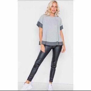 Grey Contrast Trim Flare Cotton Shirt